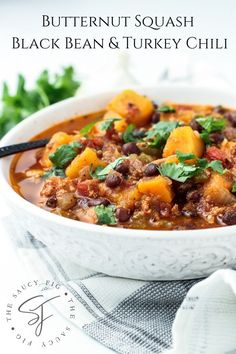 Healthy, hearty and delicious Butternut Squash Black Bean Turkey Chili; a simple to make recipe that is packed with flavorful ingredients! {Gluten and dairy-free}