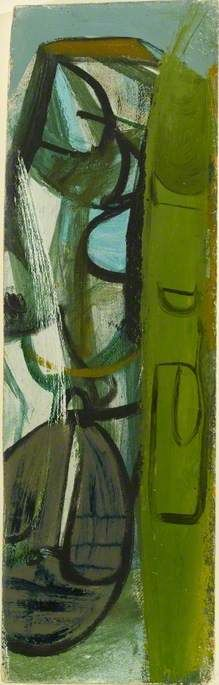 Peter Lanyon Bicyclist in Penwith 1952 Oil on chipboard, 50.8 x 15.2 cm