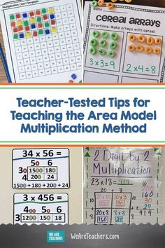 Teacher-Tested Tips and Activities for Teaching the Area Model Multiplication Method. Area model multiplication gives students a new way to look at math. Learn how it works and creative ways to teach it. Teacher Hacks, Math Teacher, Math Classroom, Teaching Tips, Teaching Math, Multiplication Activities, Maths, Math Word Walls, Math Words