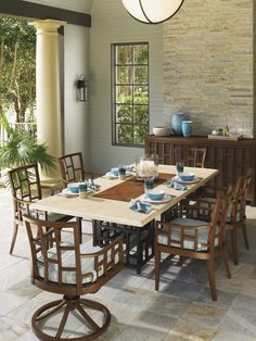 Tommy Bahama Ocean Club Resort Rectangular Table and Dining Chair Set | Lexington Home Brands Furniture