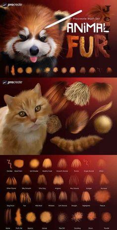Digital Painting Tutorials, Digital Art Tutorial, Vfx Tutorial, Best Procreate Brushes, How To Draw Fur, Digital Art Beginner, Painting Fur, Animal Fur, Affinity Designer
