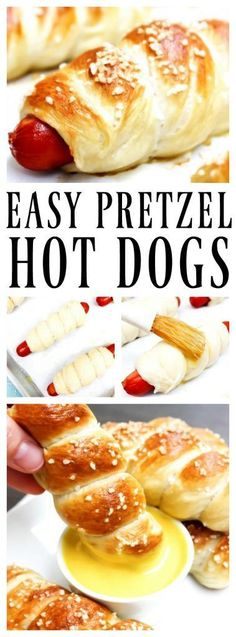 EASY PRETZEL HOT DOGS RECIPE baked and topped with kosher salt and dipped in honey mustard sauce summer coctails recipes ; Hot Dog Recipes, Beef Recipes, Healthy Recipes, Recipes With Hotdogs, Shrimp Recipes, Kids Cooking Recipes Easy, Vegetable Recipes, Healthy Meals, Pasta Recipes