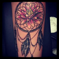 Dreamcatcher with water lilly tattoo