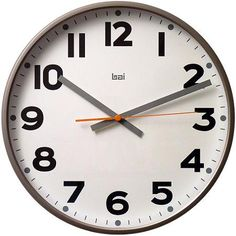 "Bai 16"" Jumbo Wall Clock, Madison Gunmetal"