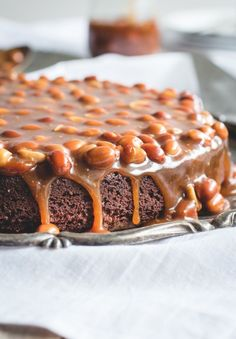 Brownie Cake with Salted Caramel + Peanuts