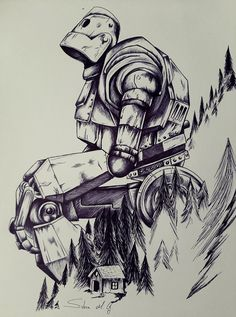 El gigante de hierro Cool Art Drawings, Art Sketches, Baby Tattoo Designs, Steampunk Drawing, Trill Art, Epic Tattoo, Small Canvas Art, Perspective Art, T Art