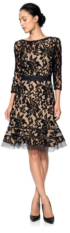 Tadashi Shoji ● Embroidered Lace 3/4 Sleeve Dress with Sheer Cut Out Detail in Black/Nude
