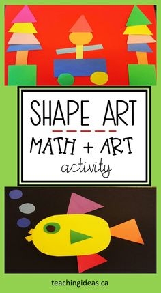 Mix math and art together with this shape activity for kids in preschool through the primary grades.  Create pieces of art using simple materials, while reinforcing math skills.   #shcpaespreschool #shapespreschool #shapes  #shapesactivities #artsandcraftsforkids