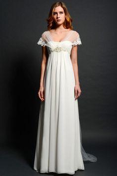 lang weiß 1/4 Ärmel Abendkleid oder Brautjungfernkleid