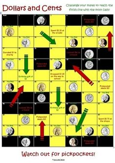 This is the  US version of a money game I made when I was a student teacher!This is a snakes and ladders board game where kiddos collect money ...