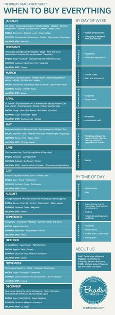 The best time to buy EVERYTHING! A month by month list of what to buy and when. Plus, a section on best days of the week!
