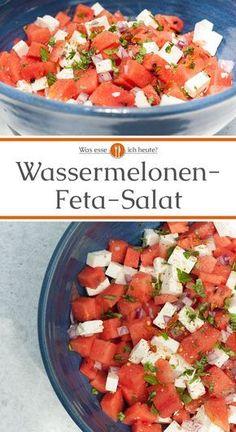 Wassermelonen-Feta-Salat - Was esse ich heute? - Wassermelonen-Feta-Salat – Was esse ich heute? Crab Stuffed Avocado, Cottage Cheese Salad, Bbq Catering, Watermelon And Feta, Watermelon Healthy, Salad Recipes, Healthy Recipes, Healthy Food, Seafood Salad