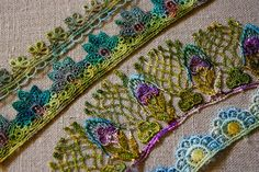 Shades of blue, purple and green...love this! Hand painted lace from ivoryblushroses.blogspot.com