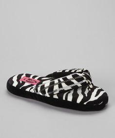 0869fac9cc38 Justin Boots Black   White Zebra Sequin Flip-Flop Slipper - Women