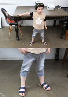 Grey Denim Capri Pants for boys 2-7. Play approved kids fashion at Color Me WHIMSY.
