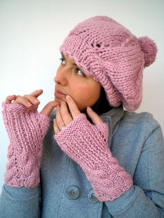 Pom-Pom Set Beret Hat and Fingerless Gloves Super Soft Trendy  Pink Hand Knit Set Hat and Gloves NEW COLLECTION. $55.00, via Etsy.