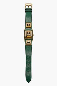 HERMES VINTAGE Green Medor 9X Epsom Leather Studded Watch