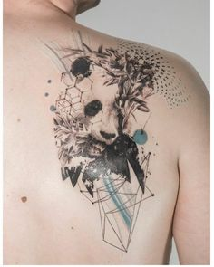 panda tattoo on shoulder by @mowgli_artist