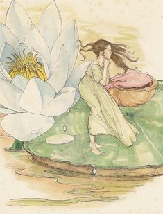 This is a charming, delicate colour original from the classic fairy tale ' Thumbelina' by Hans Christian Andersen.