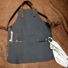 Leather Work Apron with Knife Sheath Pockets by CyclonaDesigns