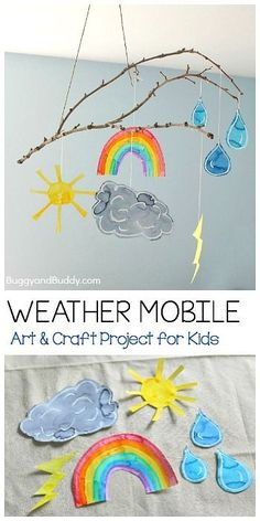 Craft for Kids Weather Mobile Craft for Kids Using a Stick- Fun art project for your next weather unit, to hang in your art room, or near your calendar or circle time area! (Can even be done as a collaborative art project!) ~ Weather Mobile Craft for Kids Cool Art Projects, Craft Projects For Kids, Kids Crafts, Craft Kids, Toddler Art Projects, Children Art Projects, Art Project For Kids, Kindergarten Art Projects, Circle Crafts Preschool