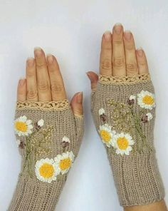 Hand Knitted Fingerless Gloves, Gloves & Mittens, Gift Ideas, For Her… Fingerless Gloves Knitted, Crochet Gloves, Knit Mittens, Wrist Warmers, Hand Warmers, Hand Knitting, Knitting Patterns, Silk Ribbon Embroidery, Embroidery Ideas