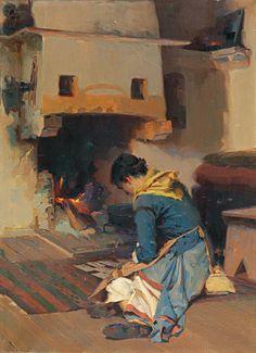 Γεραλής Απόστολος-Στο τζάκι. His work belongs to the sphere of academism influenced by both the Munich and the French Schools.