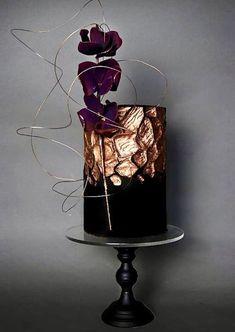 big wedding cakes With Roses Black Wedding Cakes, Wedding Cake Rustic, Elegant Wedding Cakes, Elegant Cakes, Beautiful Wedding Cakes, Gorgeous Cakes, Pretty Cakes, Amazing Cakes, Purple Wedding