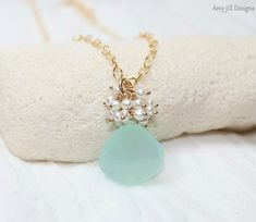 Aqua Chlacedony and Pearl Cluster Gold Filled Necklace