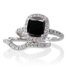Black Diamond Wedding Ring Sets For Women