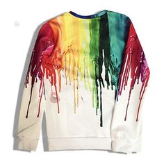 Fresh Style Rainbow Color Printed Pullover Sweatshirt For Women (165 NOK) ❤ liked on Polyvore featuring tops, white pullover, pullover tops, white top and sweater pullover