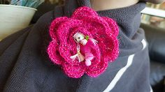 HANDMADE CROCHET PINK  ACRYLIC FLOWER BROOCH PIN EMBALLISHMENT NO METAL GIFT