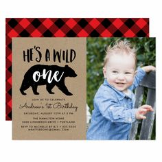 Celebrate the first birthday with family and friends. Or send a photo reminder card and leave the party date to be determined in the future. Family and friends will love the reminder of the special date. Rustic Birthday Parties, Lumberjack Birthday Party, Wild One Birthday Party, First Birthday Parties, First Birthdays, Monkey First Birthday, 1st Boy Birthday, Birthday Ideas, Yellow Birthday