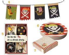 Meri Meri pirate party plates and cupcake cups & toppers