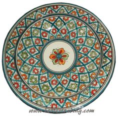 Tishka Ceramic Plate from Safi, Morocco - hand painted pottery