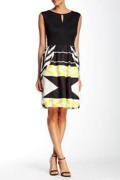 Ellen Tracy Pleated Fit & Flare Dress
