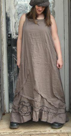Mocha Brown Linen Long Flower Slip Dress L
