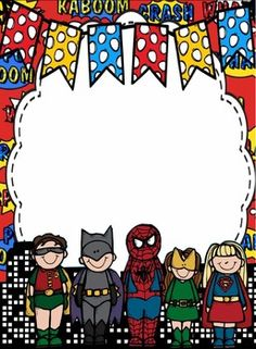 Free - Superheroes Paper Baby Cartoon Drawing, Cartoon Drawings, Borders For Paper, Borders And Frames, Superhero Classroom Theme, Classroom Decor, Graduation Certificate Template, School Border, School Frame