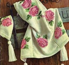 Crochet Afghan with Embroidered Roses   Grandmother's Pattern Book
