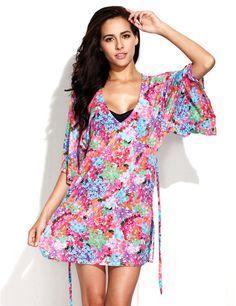 Digital Floral Print Beach Dress Beachwear US$54.90