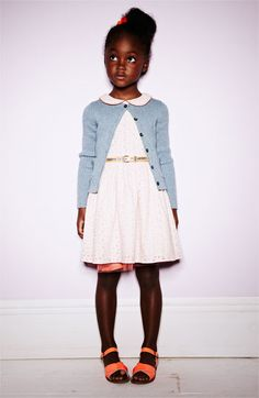 She's so pretty! Mini Boden Eyelet Dress & Sparkly Cardigan