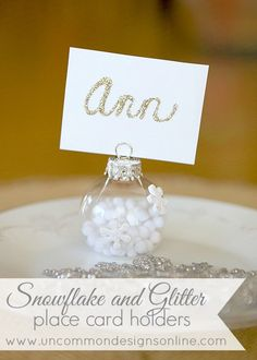 Snowflake Placecard Holder with Glittered Cards... great for that New Year's Eve table or buffet!