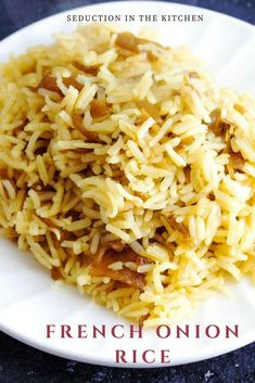 French Onion Rice {Simple And Flavorful Rice Side Dish} - Do you need an easy, budget-friendly recipe? French Onion Rice is an easy rice side dish you can ma - Rice Side Dishes, Pasta Dishes, Food Dishes, Main Dishes, French Side Dishes, Healthy Meals, Easy Meals, Healthy Recipes, Easy Rice Recipes