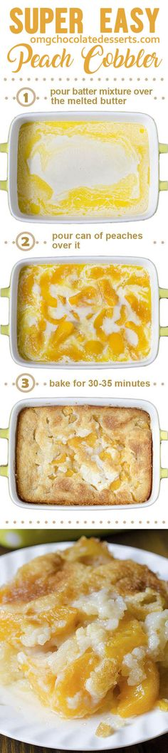 There are three reasons why this fantastic Peach Cobbler can become one of your . There are three reasons why this fantastic Peach Cobbler can become one of your favorite recipes – it's super tasty, super simple and super awesome. 13 Desserts, Brownie Desserts, Chocolate Desserts, Delicious Desserts, Dessert Recipes, Yummy Food, Southern Desserts, Breakfast Recipes, How Sweet Eats