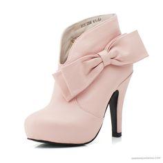 Bowknot Leather Pink Short Sheepskin Short Leather High Heels Short Big Sized Wedding Boots WS0695_1