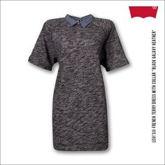 """Levi's® French Terry Dress With Collar """"Black Galaxy Heather"""""""