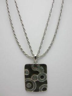 Retro Enamel Pendant Necklace 60s 70s Style Black Grey Circles Silver Tone
