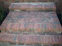 Deteriorated Front Steps - and how to properly install a brick porch and steps… Brick Porch, Brick Walkway, Front Walkway, Front Porch, House Front, Patio Steps, Brick Steps, Front Door Steps, Porch Addition