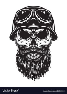 Buy Vintage Bearded Skull Biker Concept by imogi on GraphicRiver. Vintage bearded skull biker concept with helmet and goggles isolated vector illustration Japanese Sleeve Tattoos, Best Sleeve Tattoos, Body Art Tattoos, Moto Chopper, Logo Esport, David Mann Art, Emo Wallpaper, Helmet Tattoo, Biker Tattoos