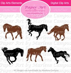 """Horses Digital Clip Art (aprox. 12"""") Digital Images, Cowboys, western, scrapbooking clip arts, boys, Personal and Commercial use for Print. $4.99, via Etsy."""